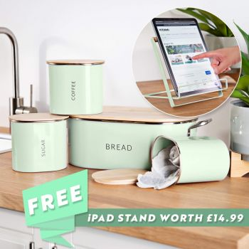 Te Verde Bread Bin and Canister Set with FREE iPad Stand