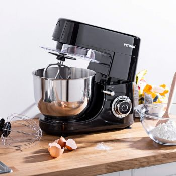 Vitinni 6L Black Stand Mixer with Planetary Action