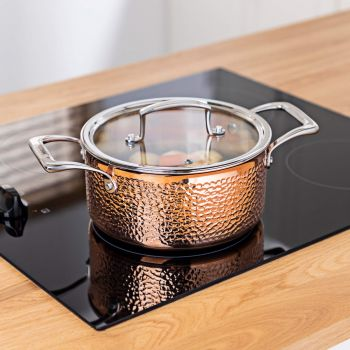 Vitinni Tri Ply Hammered Copper Casserole Pan with Glass Lid
