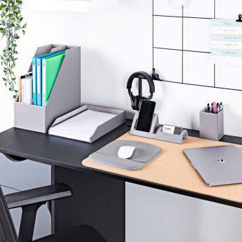 Desk Organiser Set - Desktop Storage in Grey PU Leather