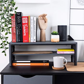 Desk Shelf Two Tiers in Charcoal Grey - Desktop Shelves