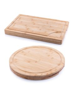 Set of Two Chopping Boards - Bamboo Butchers Block XL Round or Rectangle
