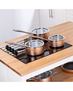 3 Piece Tri Ply Hammered Copper Pan Set