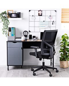 Home Office Desk with Side Drawer & Cupboard, Black & Charcoal Grey
