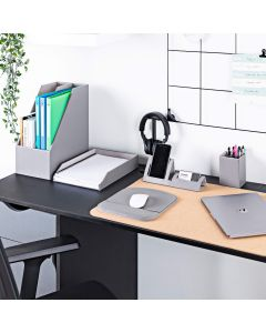Desk Organiser Set - Desktop Storage in Grey PU Leather