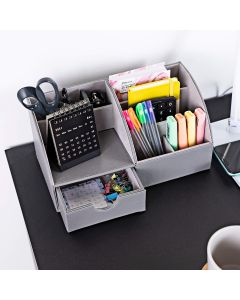 Desk Organiser - Pen Holder/ Stationary Storage Tidy in Grey PU Leather