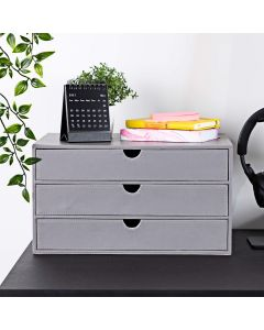 Desk Filing Drawers - Desktop Storage 3 Tiers in Grey PU Leather