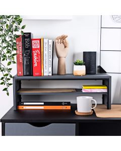 Desk Shelf Two Tiers in Charcoal Grey - Desktop Shelves